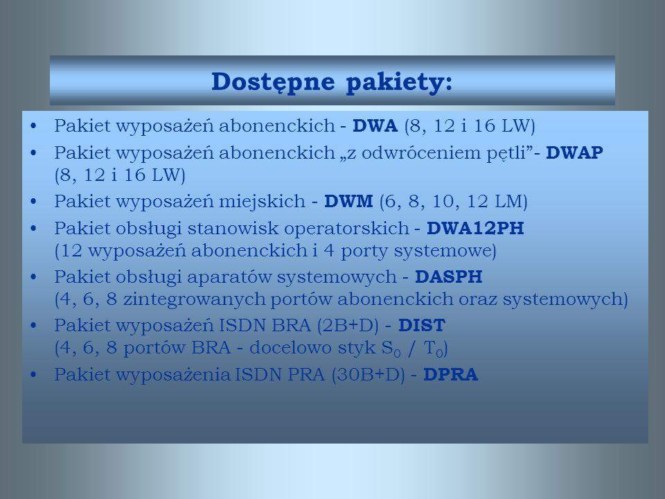 Dostępne pakiety: Pakiet wyposażeń abonenckich - DWA (8, 12 i 16 LW)
