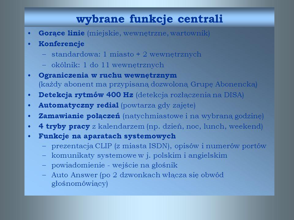 wybrane funkcje centrali