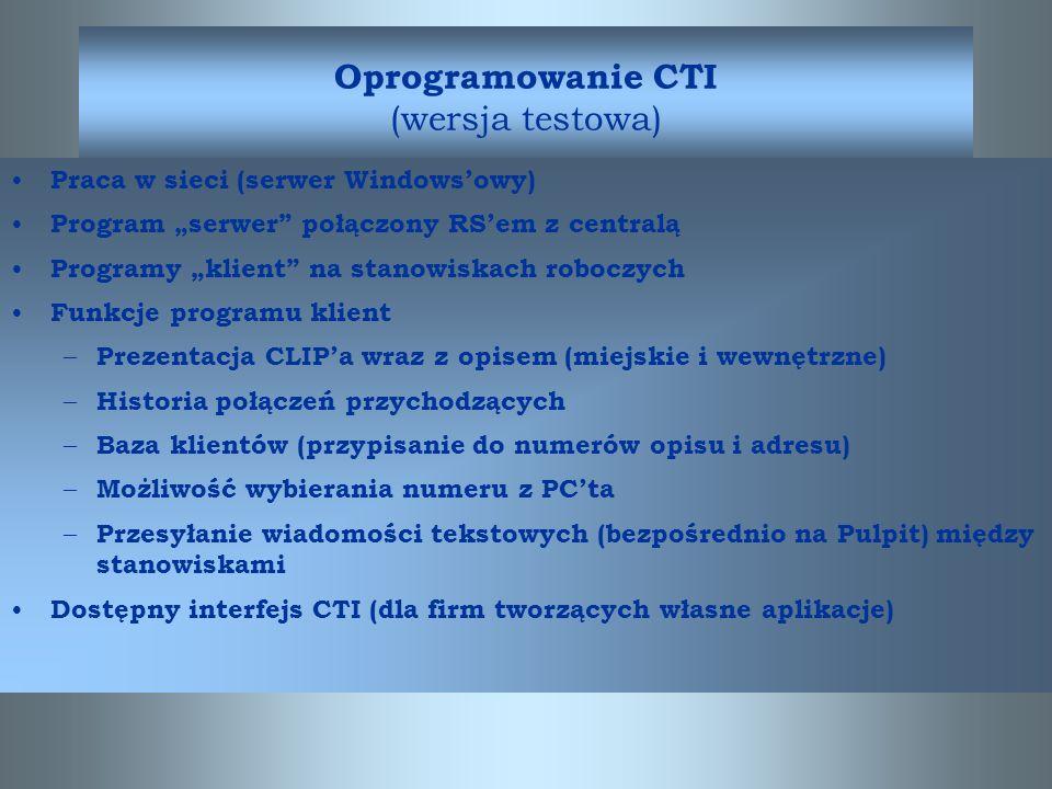 Oprogramowanie CTI (wersja testowa)