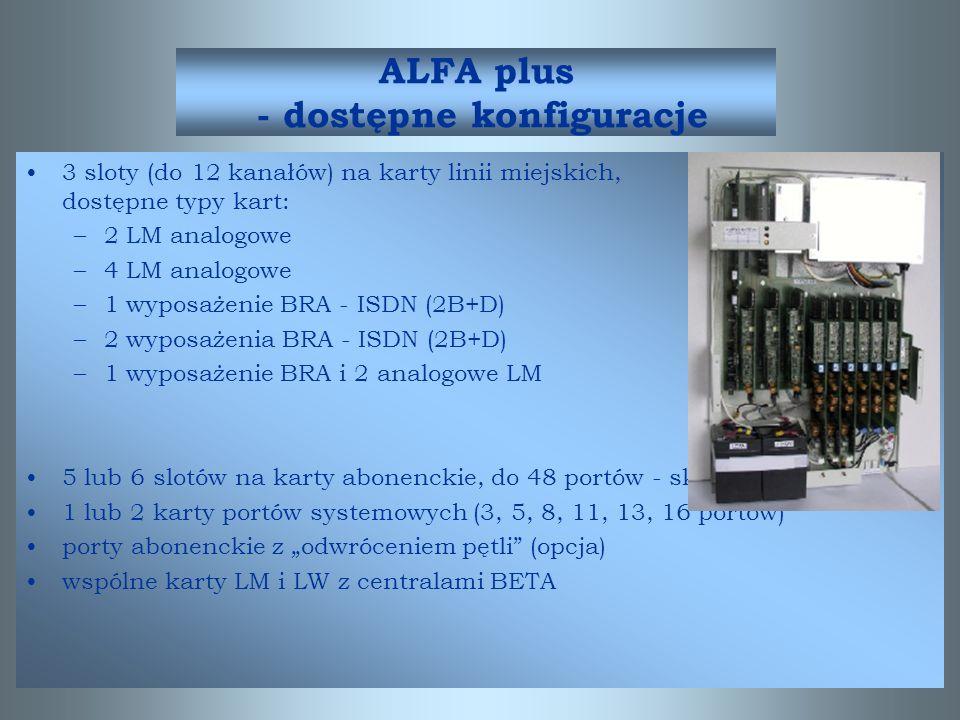 ALFA plus - dostępne konfiguracje