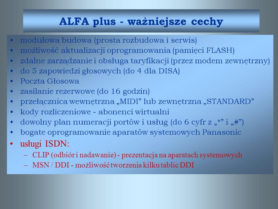 ALFA plus - ważniejsze cechy
