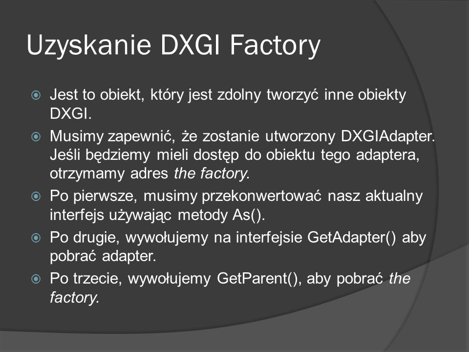 Uzyskanie DXGI Factory