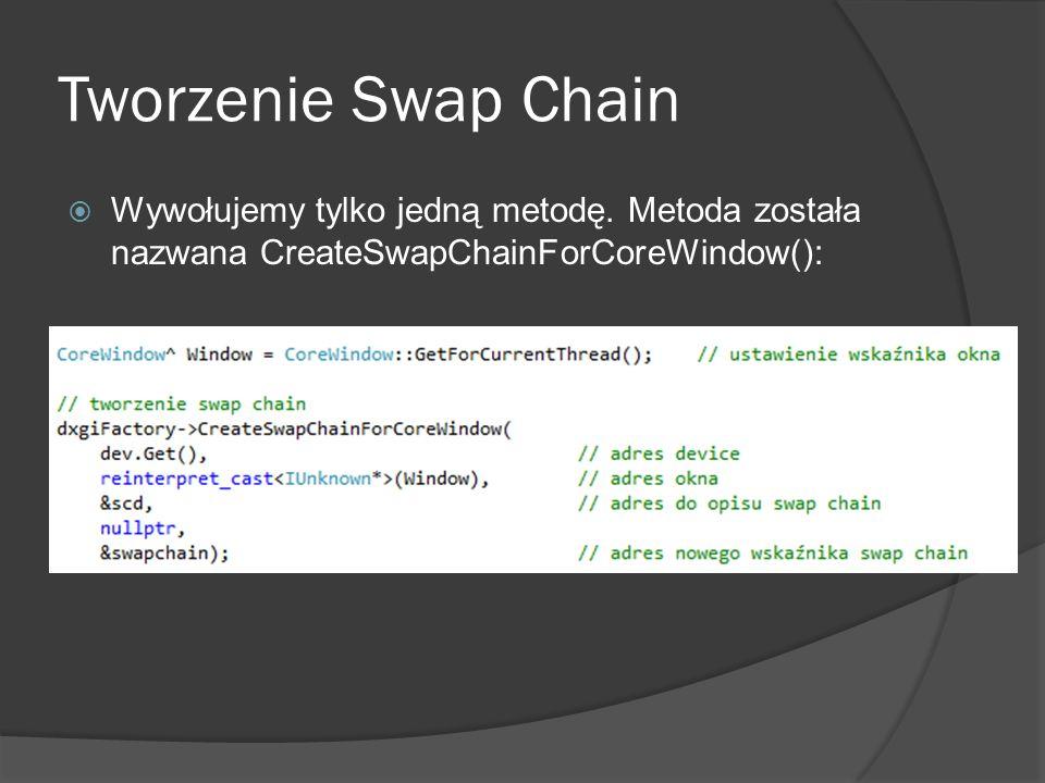 Tworzenie Swap Chain Wywołujemy tylko jedną metodę.