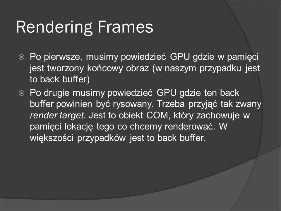 Rendering Frames Po pierwsze, musimy powiedzieć GPU gdzie w pamięci jest tworzony końcowy obraz (w naszym przypadku jest to back buffer)