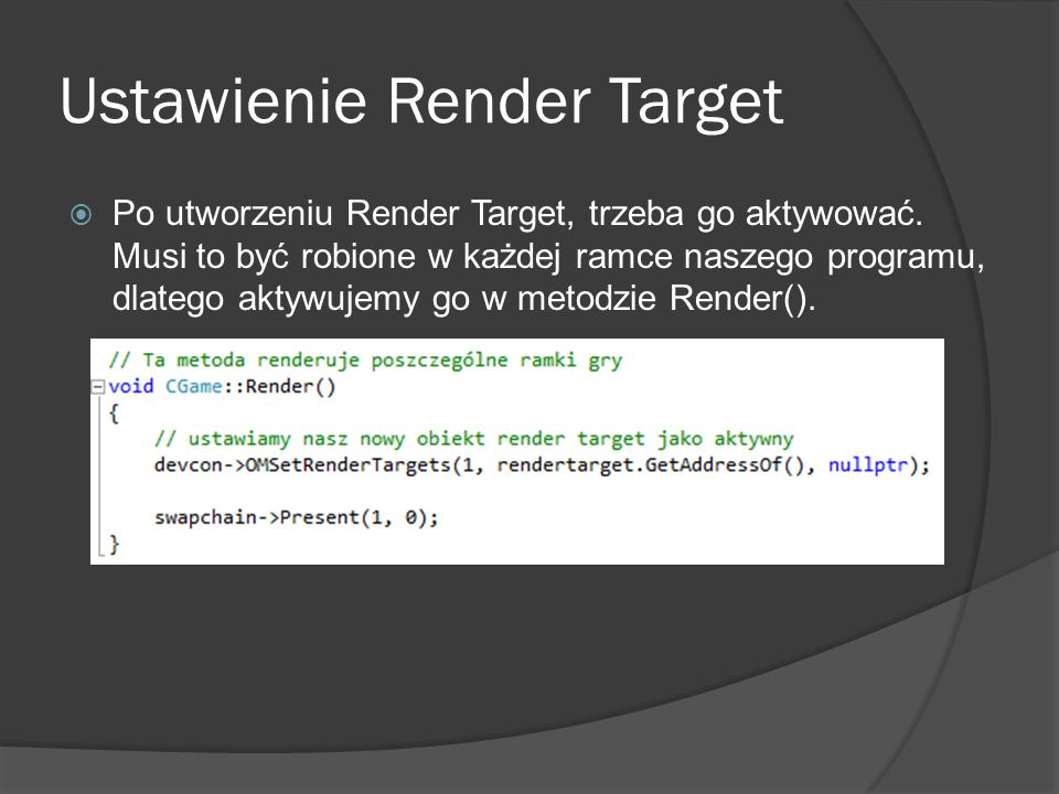 Ustawienie Render Target