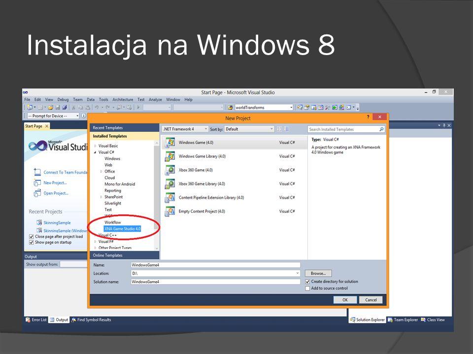 Instalacja na Windows 8
