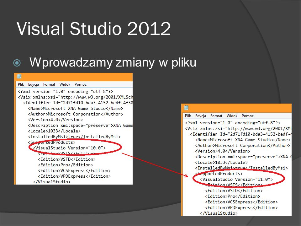 Visual Studio 2012 Wprowadzamy zmiany w pliku