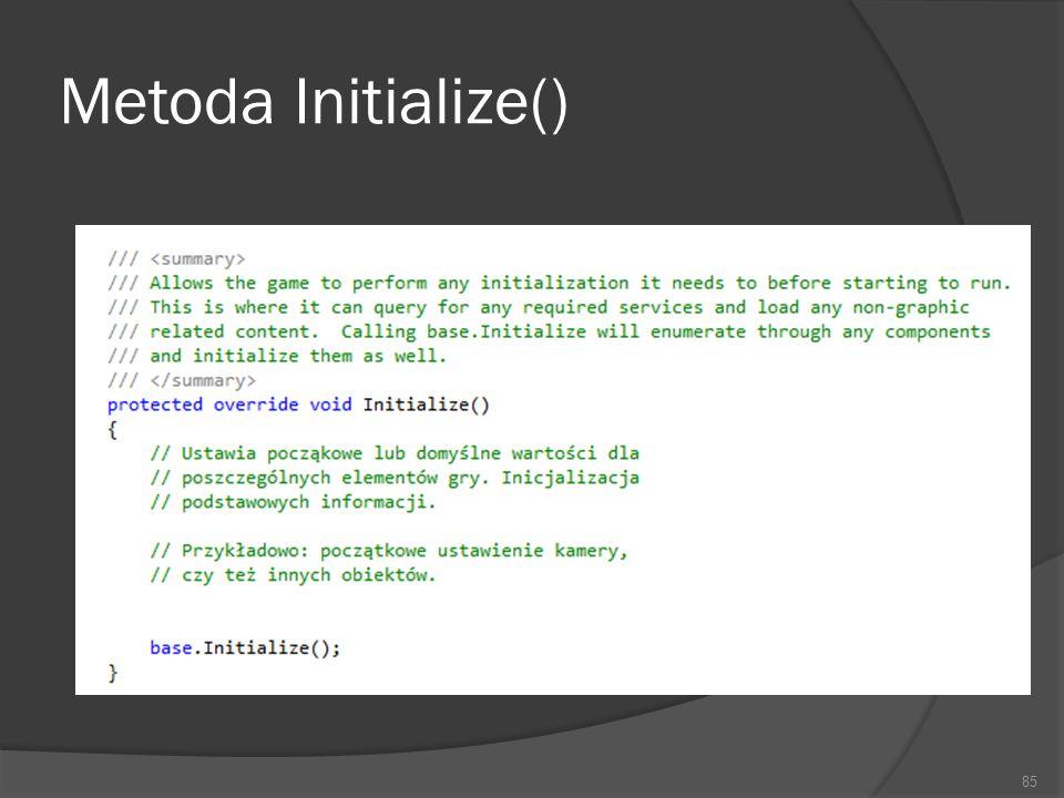 Metoda Initialize()