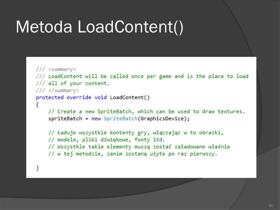 Metoda LoadContent()