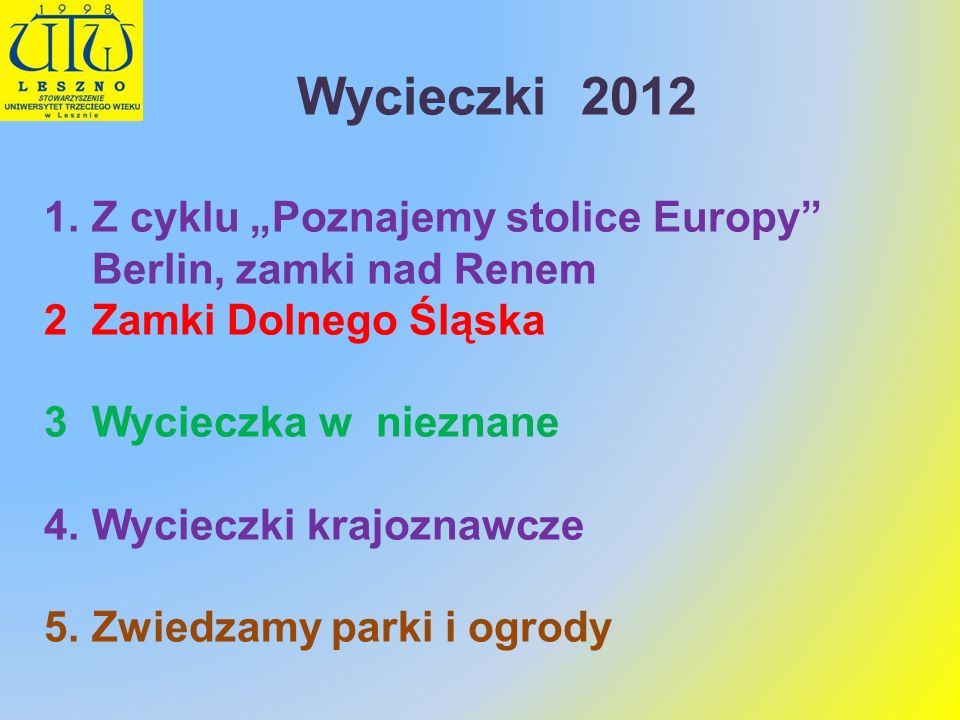 """Wycieczki 2012Z cyklu """"Poznajemy stolice Europy Berlin, zamki nad Renem. Zamki Dolnego Śląska. Wycieczka w nieznane."""