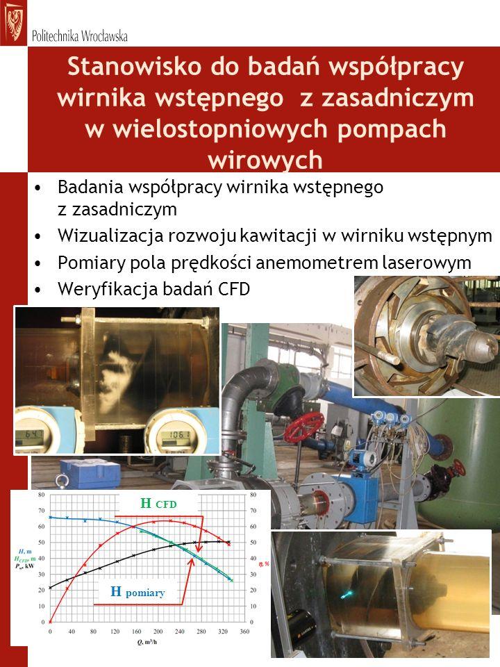 Stanowisko do badań współpracy wirnika wstępnego z zasadniczym w wielostopniowych pompach wirowych