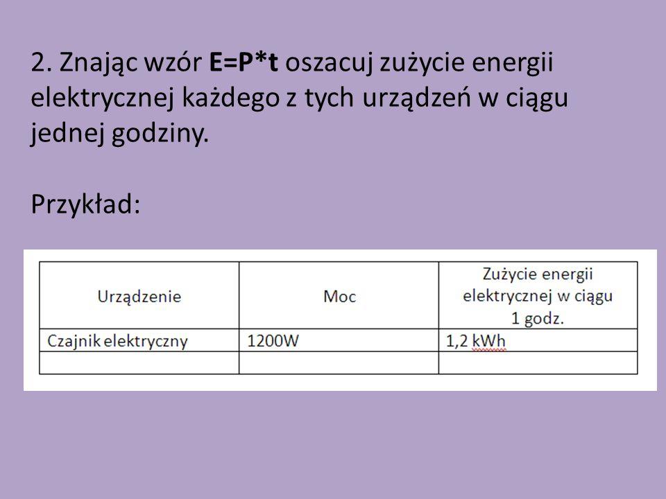 2. Znając wzór E=P*t oszacuj zużycie energii elektrycznej każdego z tych urządzeń w ciągu jednej godziny.