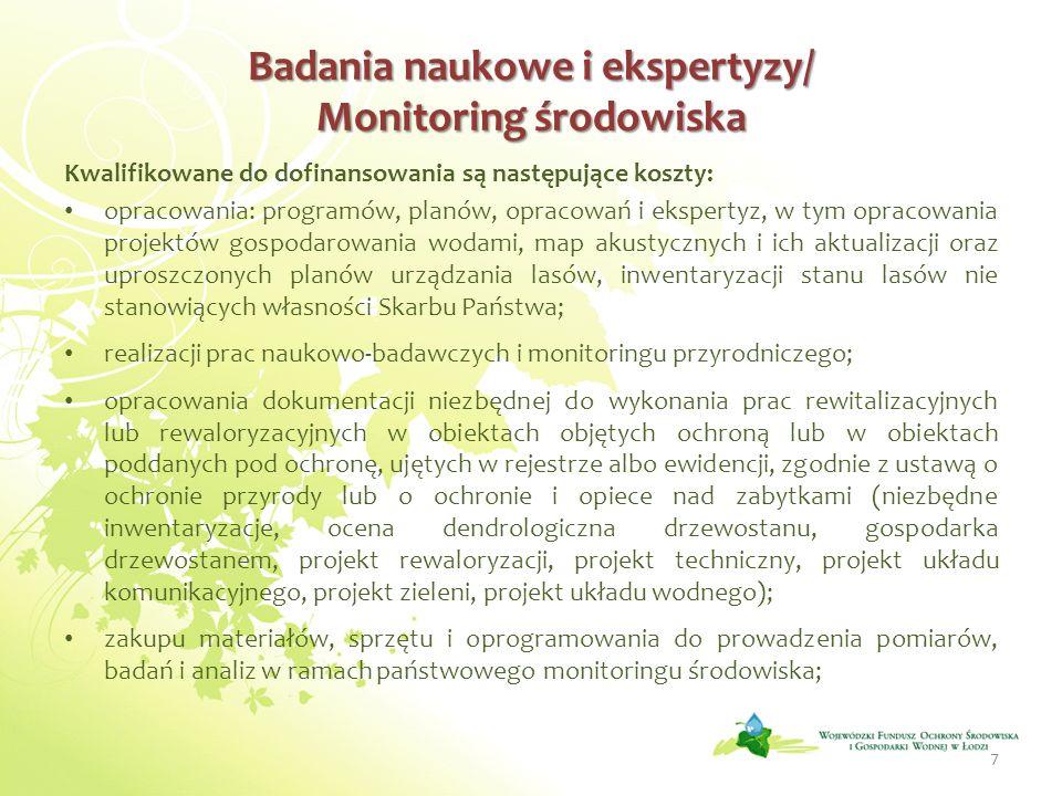Badania naukowe i ekspertyzy/ Monitoring środowiska