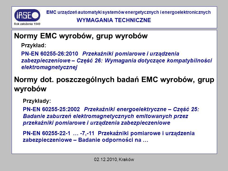 Normy EMC wyrobów, grup wyrobów