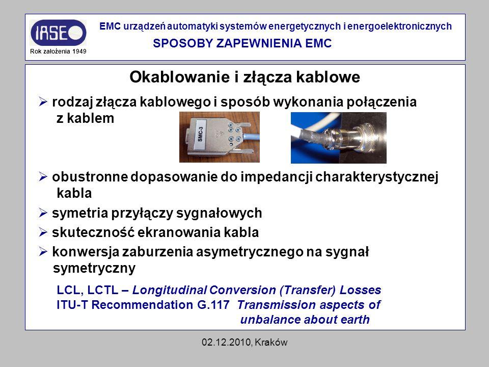 SPOSOBY ZAPEWNIENIA EMC Okablowanie i złącza kablowe