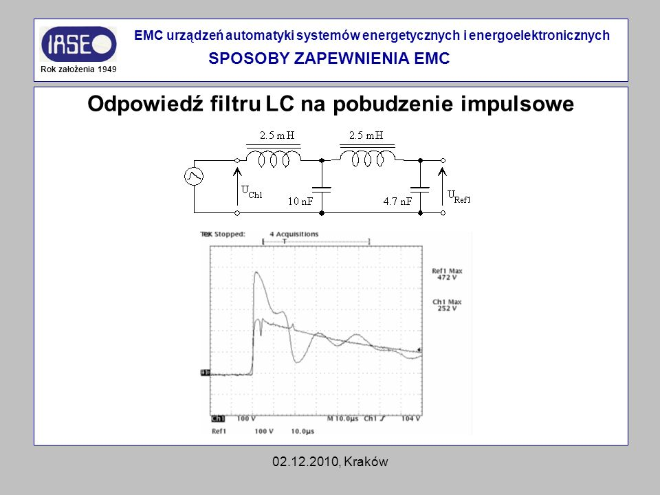 SPOSOBY ZAPEWNIENIA EMC Odpowiedź filtru LC na pobudzenie impulsowe