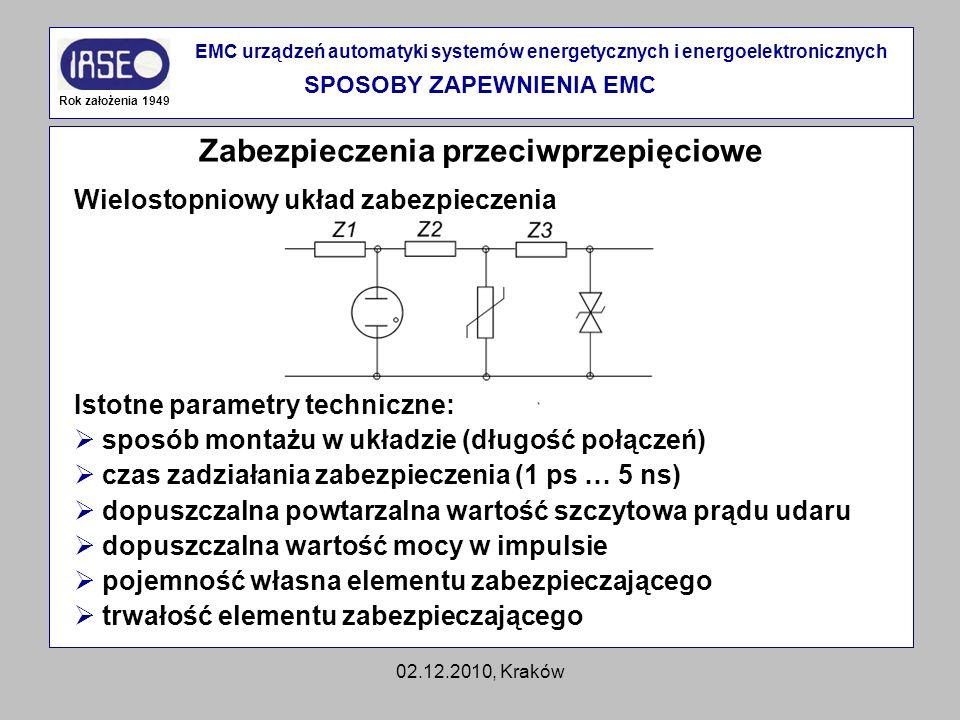 SPOSOBY ZAPEWNIENIA EMC Zabezpieczenia przeciwprzepięciowe