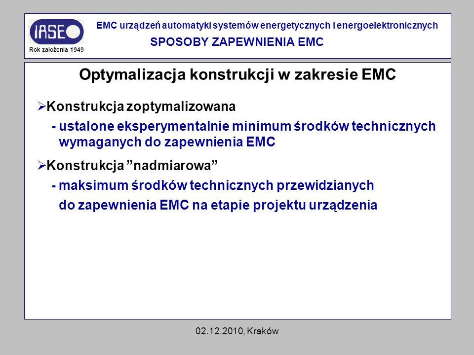 SPOSOBY ZAPEWNIENIA EMC Optymalizacja konstrukcji w zakresie EMC