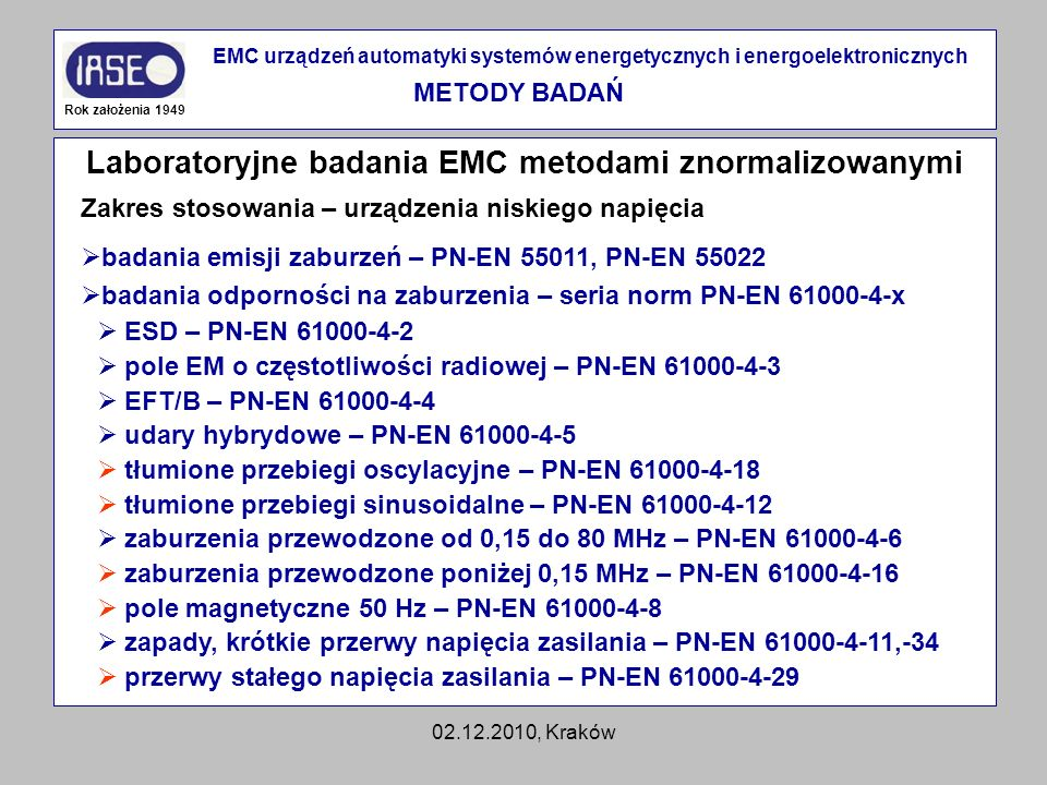 Laboratoryjne badania EMC metodami znormalizowanymi