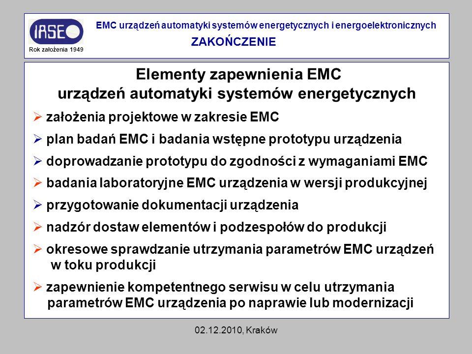 Elementy zapewnienia EMC urządzeń automatyki systemów energetycznych