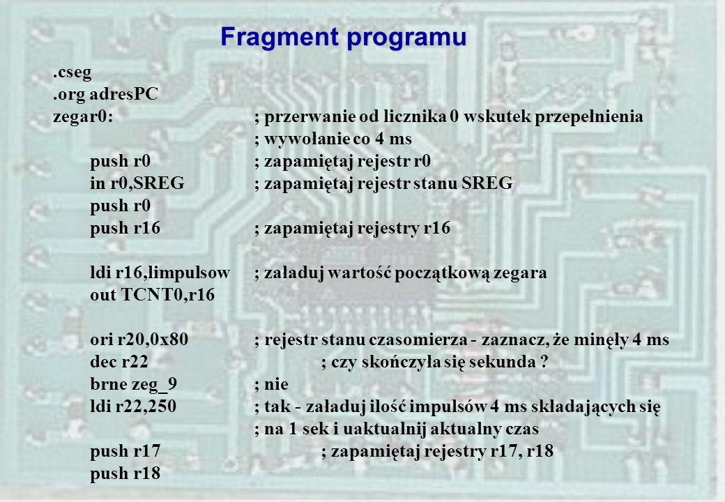 Fragment programu .cseg .org adresPC