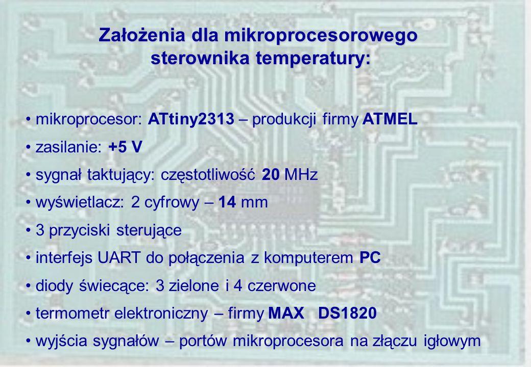 Założenia dla mikroprocesorowego sterownika temperatury: