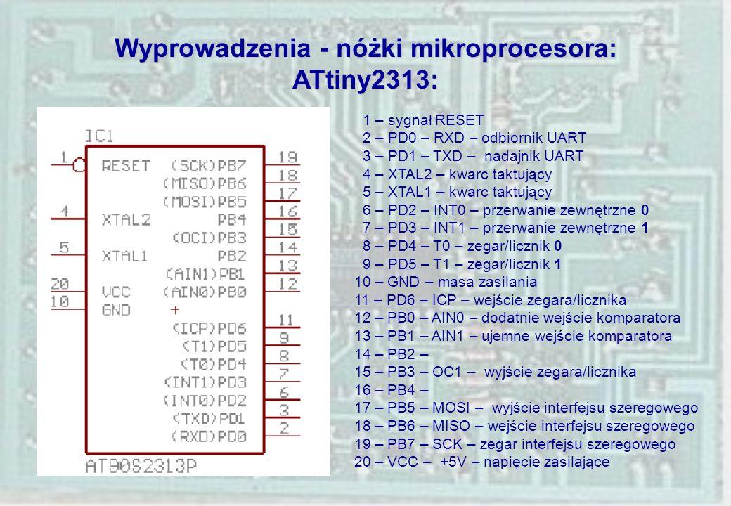 Wyprowadzenia - nóżki mikroprocesora: