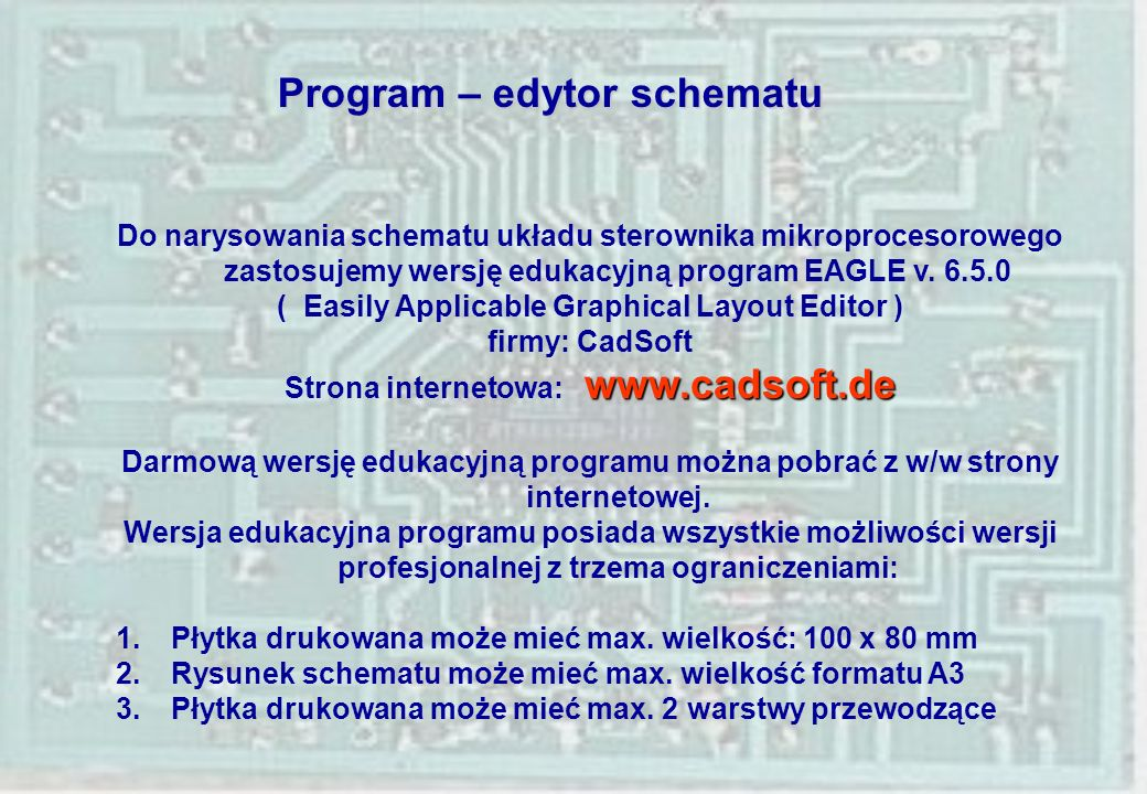Program – edytor schematu