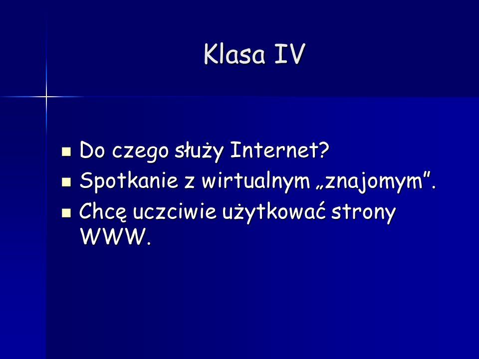 """Klasa IV Do czego służy Internet Spotkanie z wirtualnym """"znajomym ."""