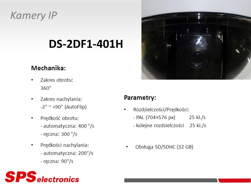 DS-2DF1-401H Kamery IP Mechanika: Parametry: Zakres obrotu: 360°
