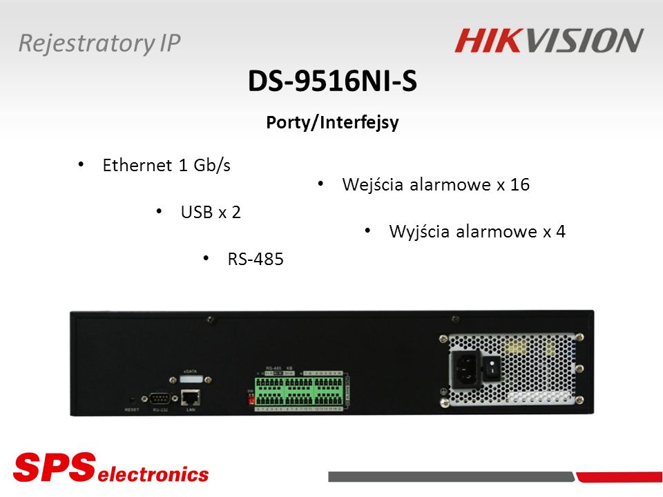 DS-9516NI-S Porty/Interfejsy