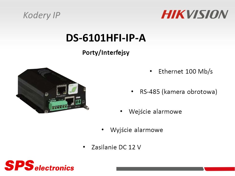 DS-6101HFI-IP-A Porty/Interfejsy