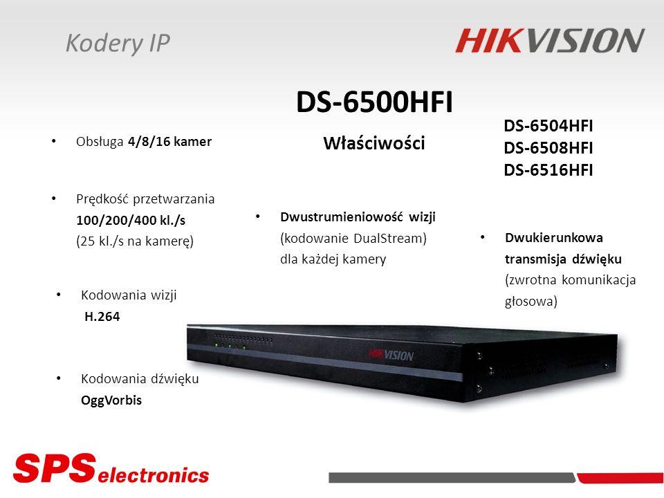 DS-6500HFI Właściwości Kodery IP DS-6504HFI DS-6508HFI DS-6516HFI