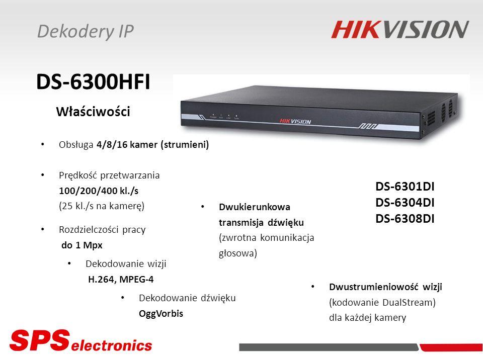 DS-6300HFI Właściwości Dekodery IP DS-6301DI DS-6304DI DS-6308DI