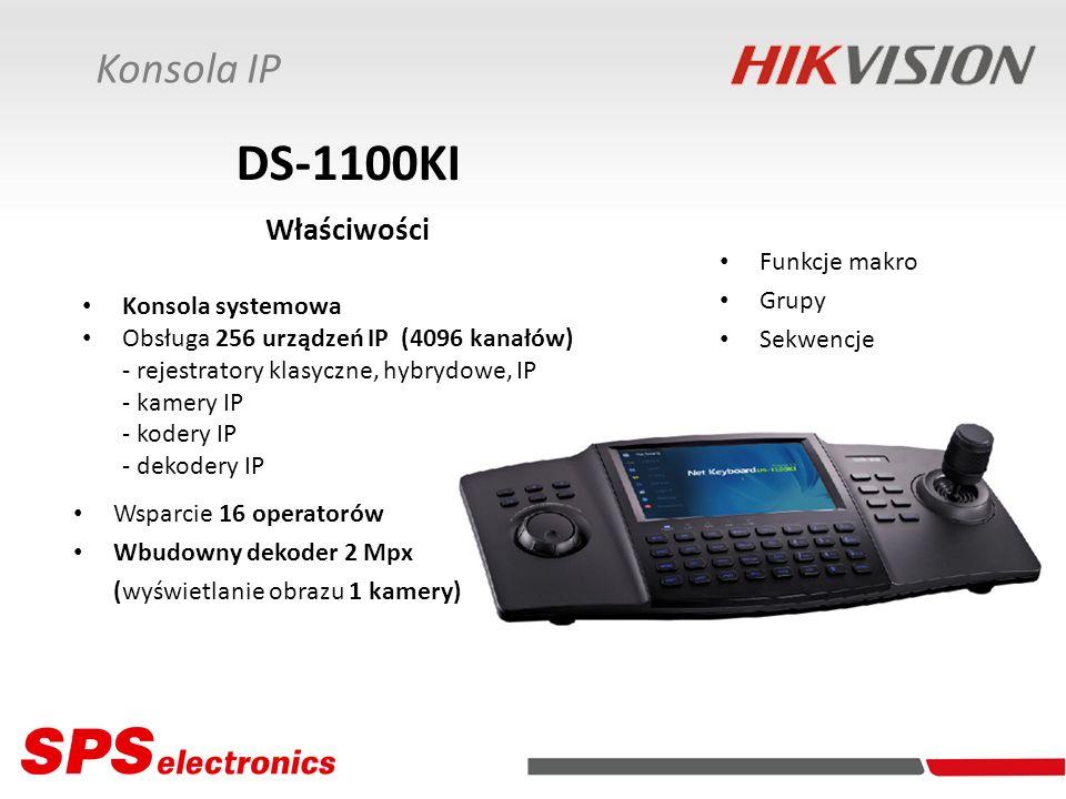 DS-1100KI Właściwości Konsola IP Funkcje makro Grupy Sekwencje