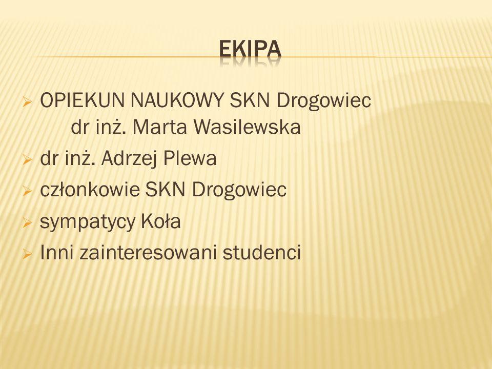 ekipa OPIEKUN NAUKOWY SKN Drogowiec dr inż. Marta Wasilewska