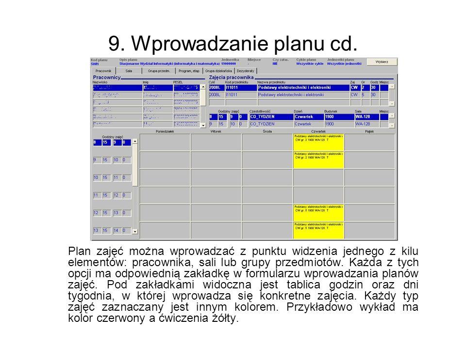 9. Wprowadzanie planu cd.