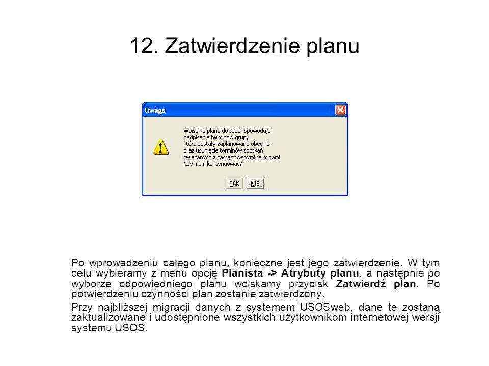 12. Zatwierdzenie planu
