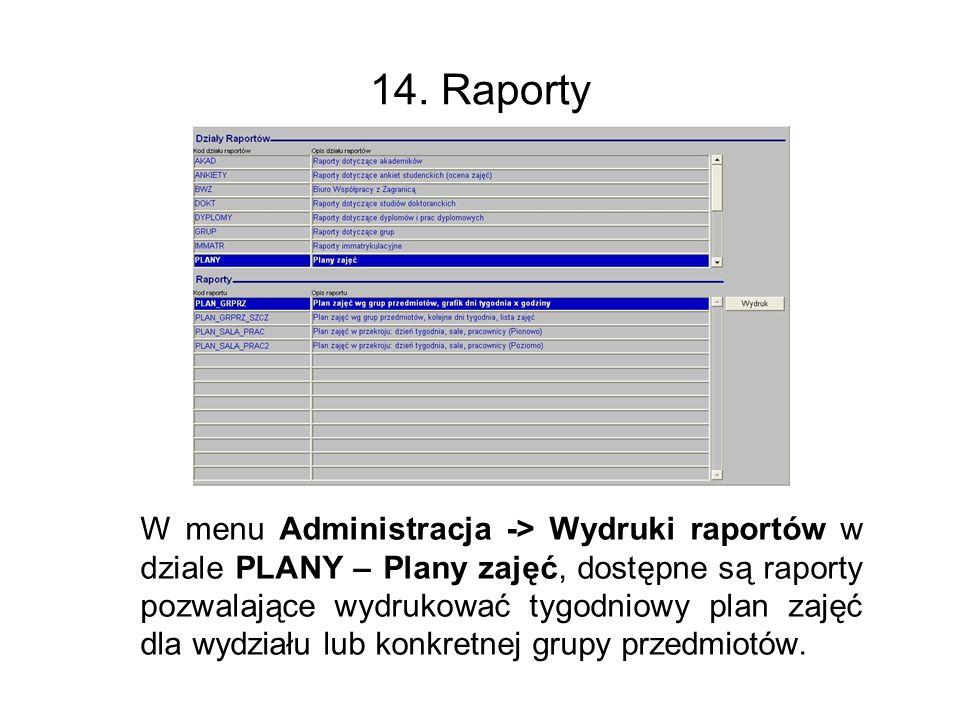 14. Raporty
