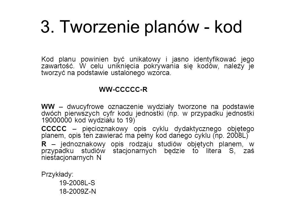 3. Tworzenie planów - kod