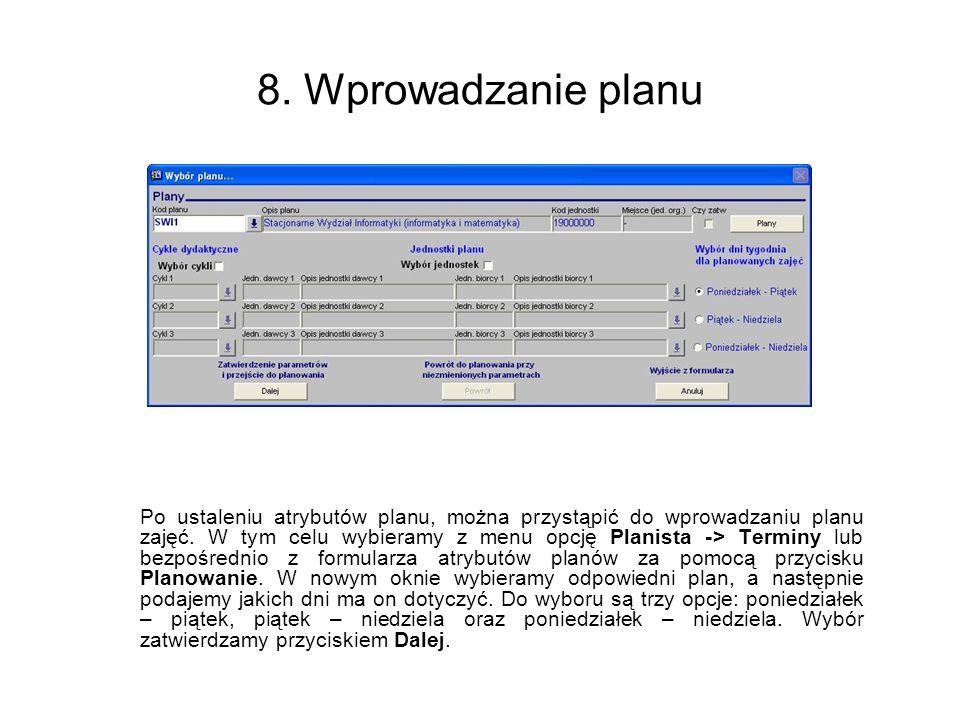 8. Wprowadzanie planu