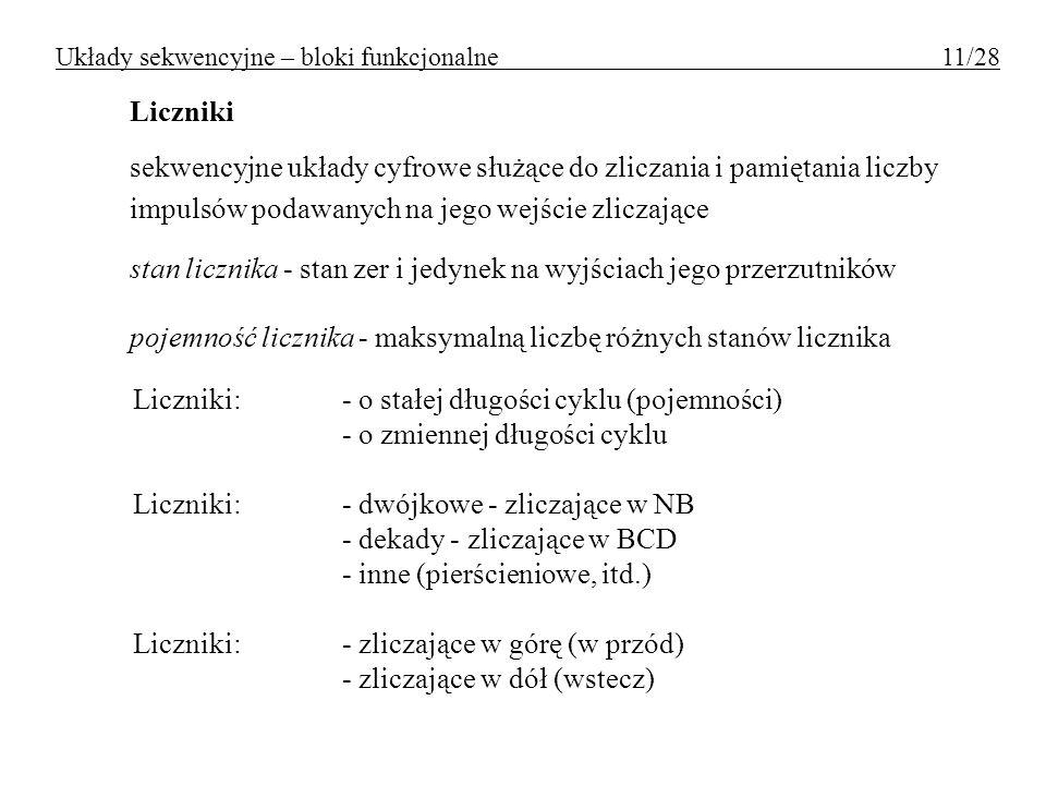 Układy sekwencyjne – bloki funkcjonalne 11/28