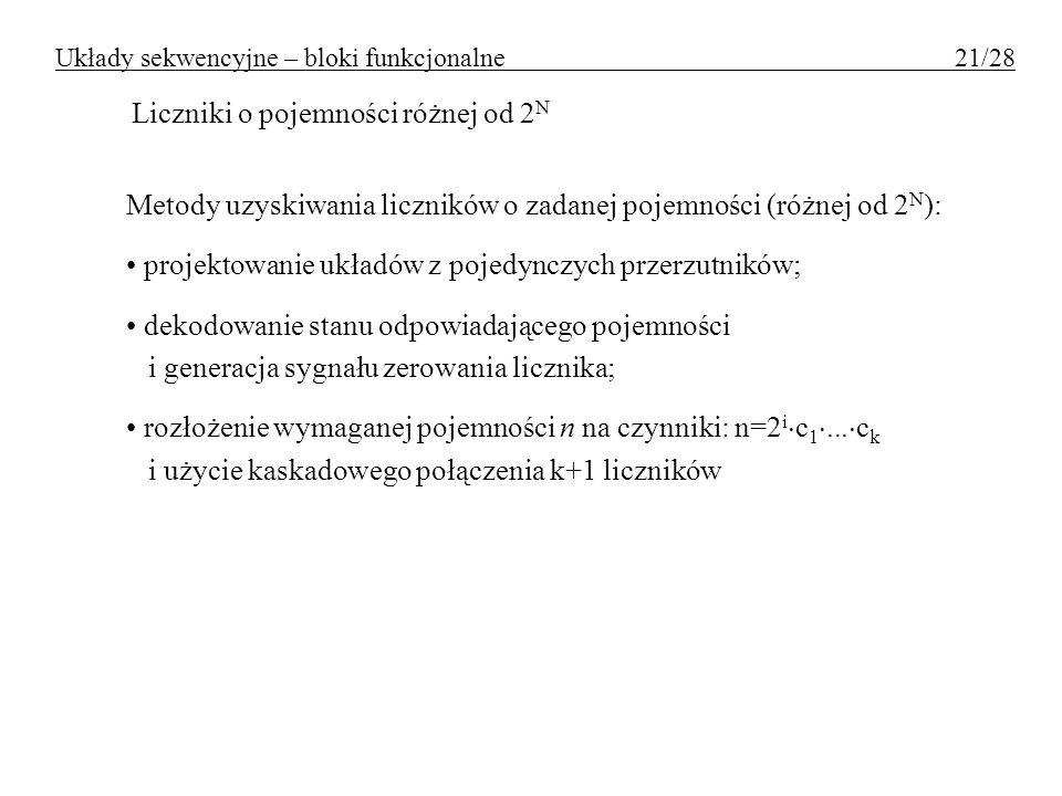 Układy sekwencyjne – bloki funkcjonalne 21/28