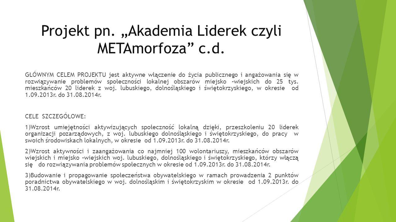 """Projekt pn. """"Akademia Liderek czyli METAmorfoza c.d."""