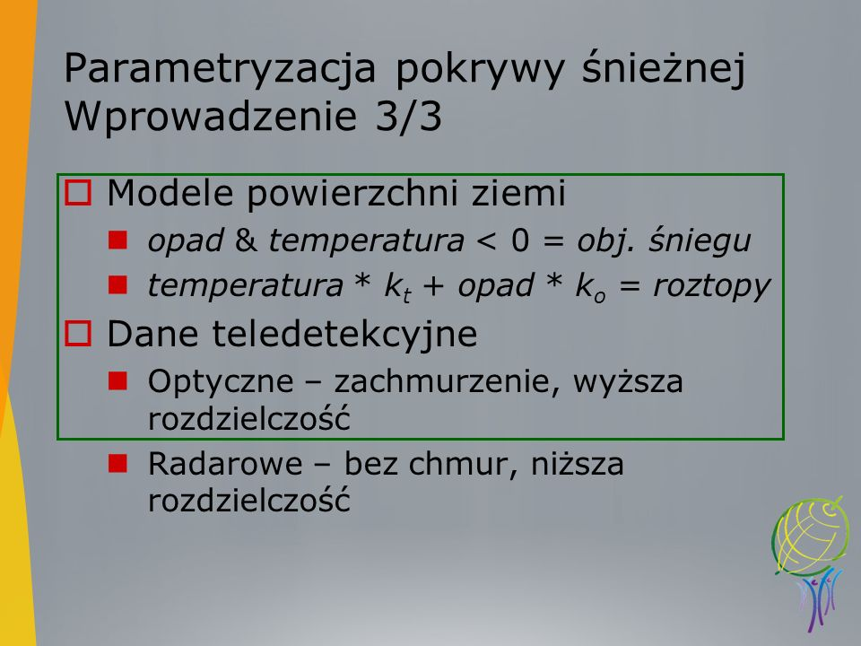 Parametryzacja pokrywy śnieżnej Wprowadzenie 3/3