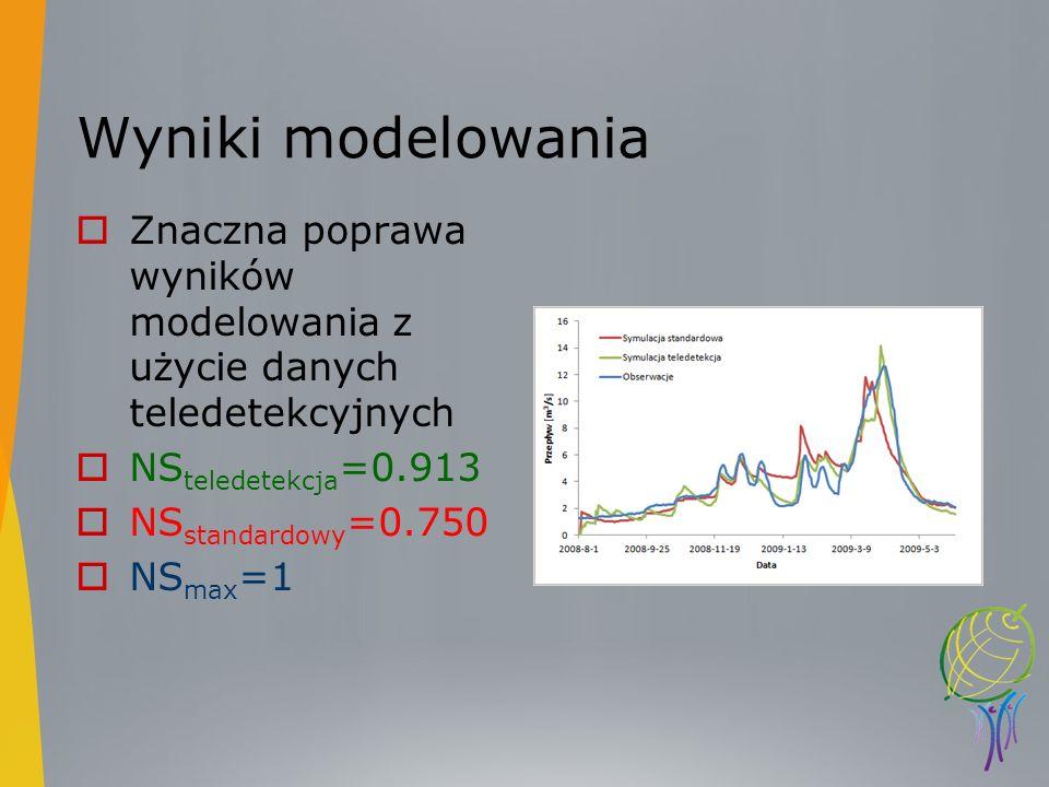 Wyniki modelowania Znaczna poprawa wyników modelowania z użycie danych teledetekcyjnych. NSteledetekcja=0.913.