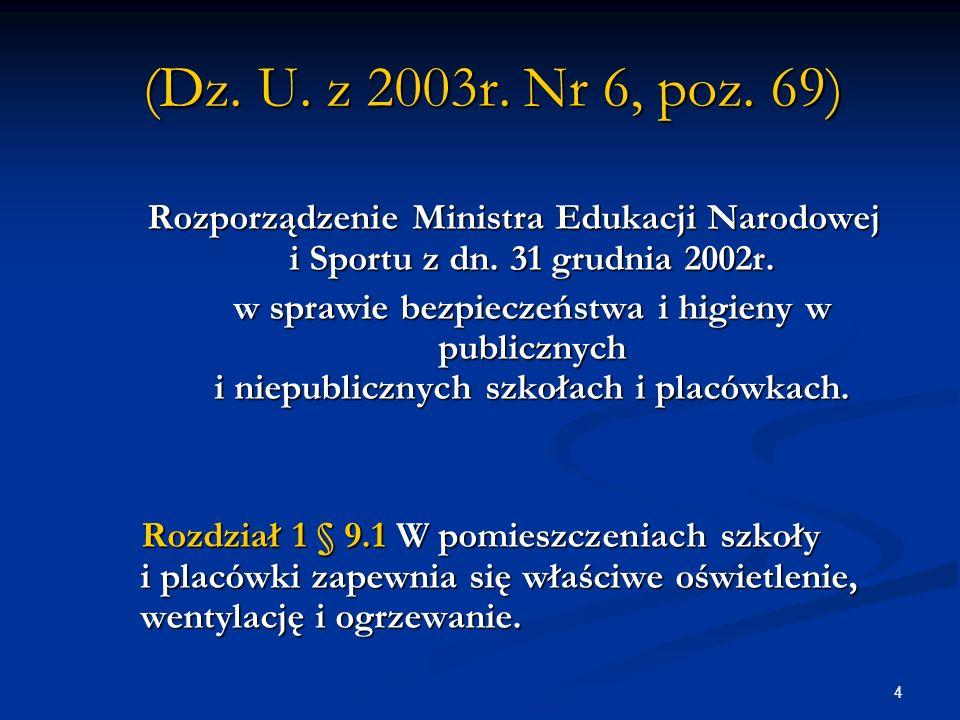 (Dz. U. z 2003r. Nr 6, poz. 69) Rozporządzenie Ministra Edukacji Narodowej i Sportu z dn. 31 grudnia 2002r.