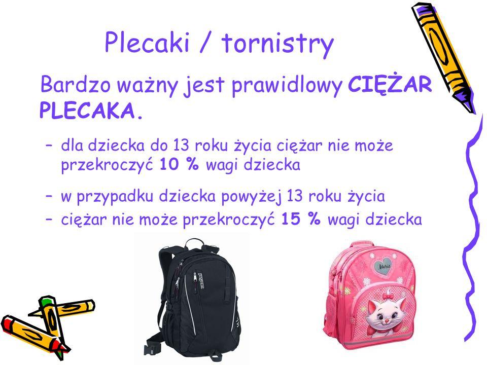 Plecaki / tornistry Bardzo ważny jest prawidlowy CIĘŻAR PLECAKA.