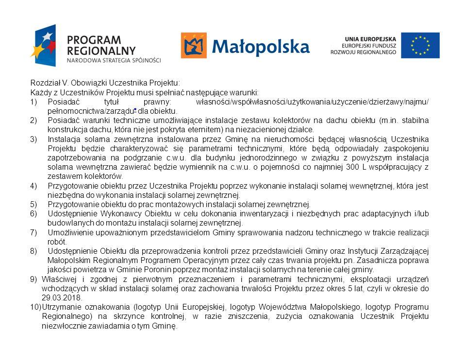 Rozdział V. Obowiązki Uczestnika Projektu: