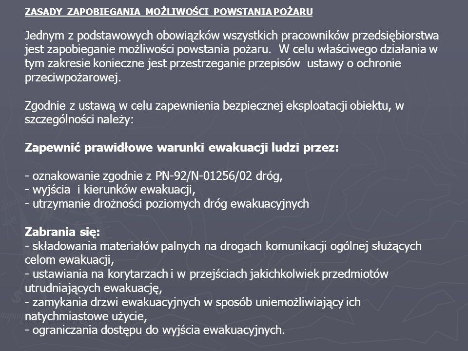Zapewnić prawidłowe warunki ewakuacji ludzi przez: